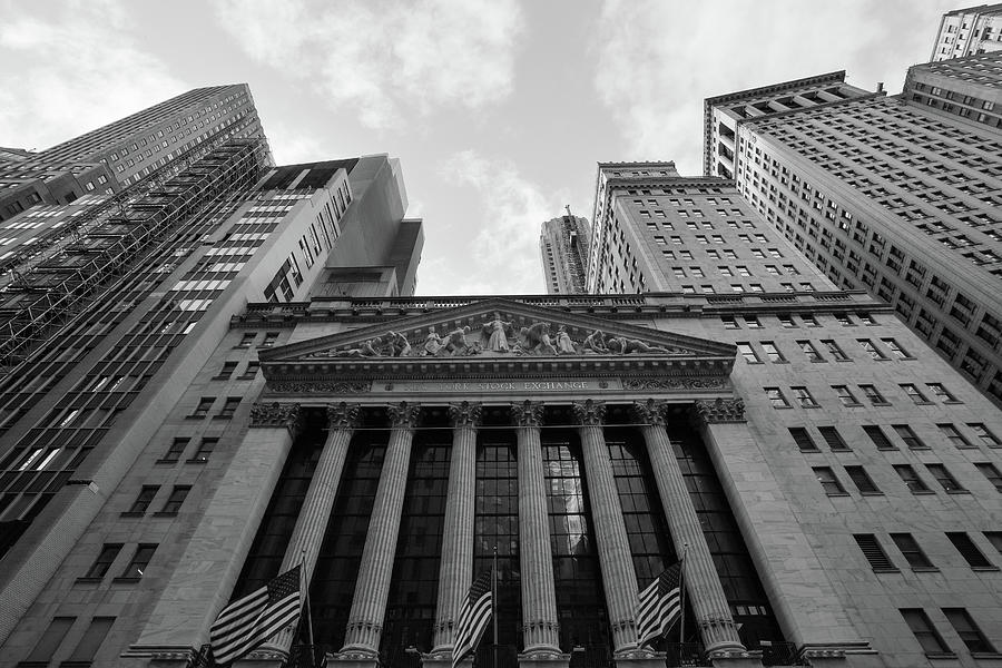 New York Stock Exchange Photograph - New York Stock Exchange Black And White by Brian Knott Photography