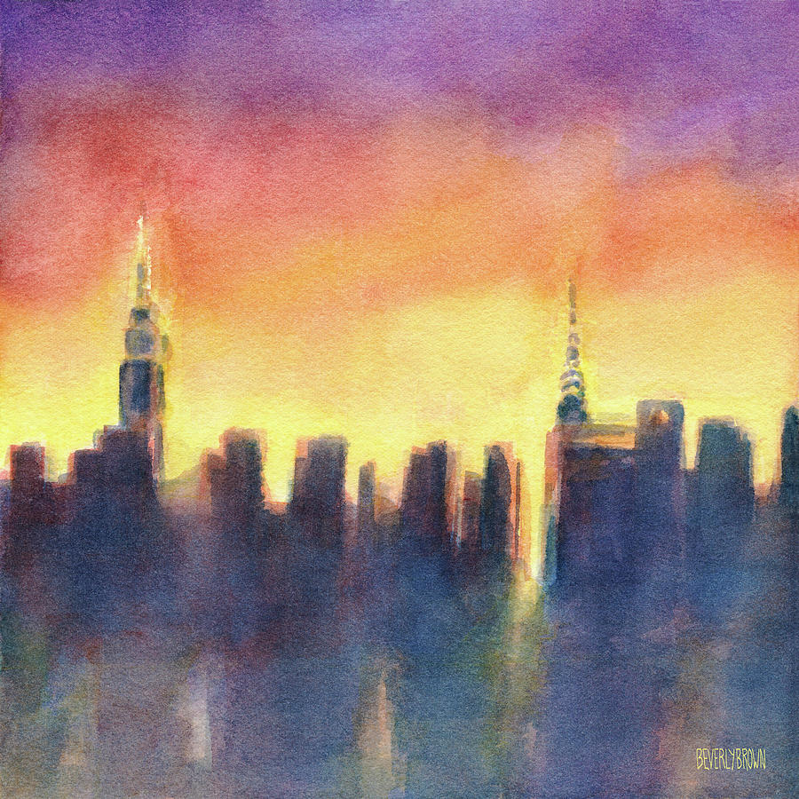 New York Sunset After The Rain Painting by Beverly Brown Prints