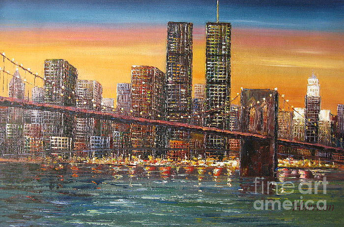 New York Sunset Manhattan Brooklyn Bridge Oil Painting Painting By