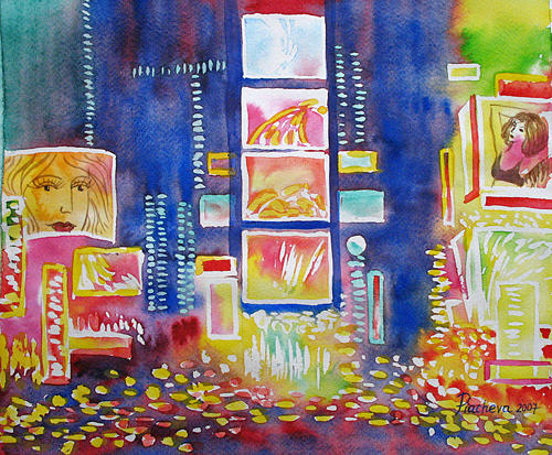 Landscape Painting - New York Times Square. Lights and Colors. by Natalia Piacheva