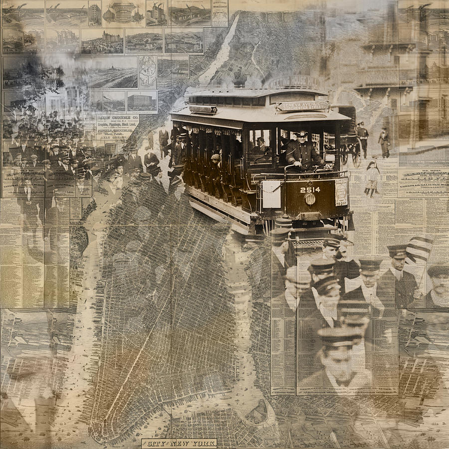 New York Photograph - New York Trolley Vintage Photo Collage by Karla Beatty