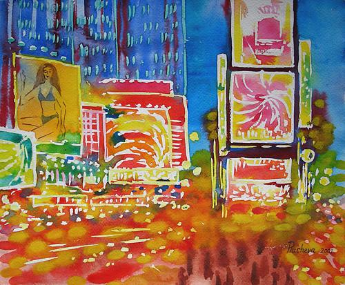 Landscape Painting - New York View .times Square Evening Precipitancy. by Natalia Piacheva