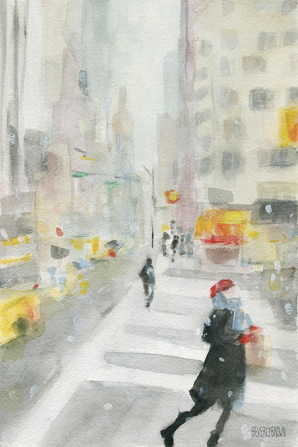 New York Painting - New York Winter 57th Street by Beverly Brown