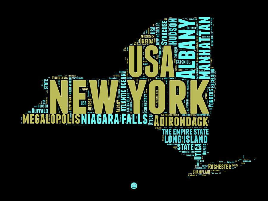 New York Digital Art - New York Word Cloud Map 1 by Naxart Studio