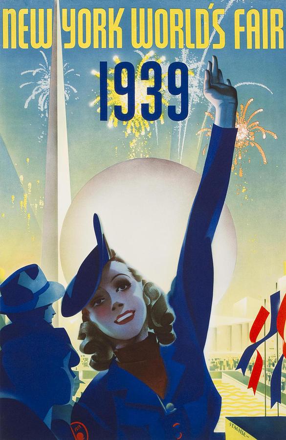New York Painting - New York, World Fair, Firework, Woman In Blue Dress by Long Shot