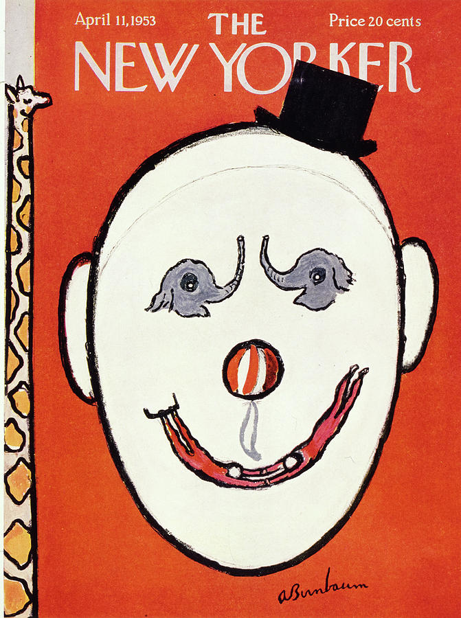 Clown Drawing - New Yorker April 11 1953 by Abe Birnbaum