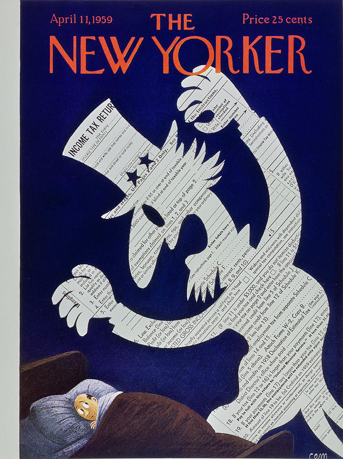 Income Taxes Painting - New Yorker April 11 1959 by Charles Martin