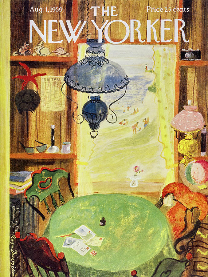 Vacation Painting - New Yorker August 1 1959 by Roger Duvoisin
