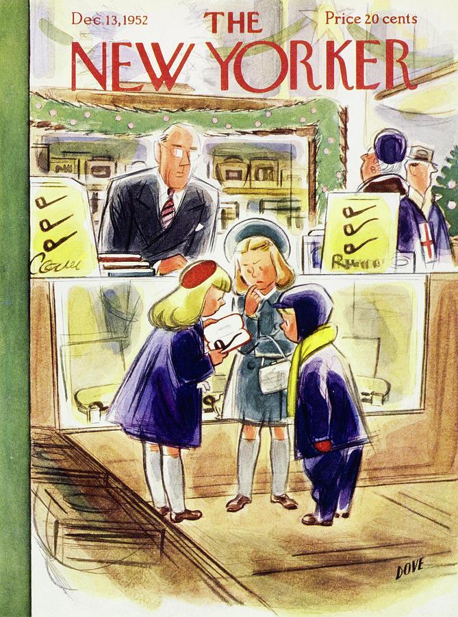 Children Painting - New Yorker December 13 1952 by Leonard Dove