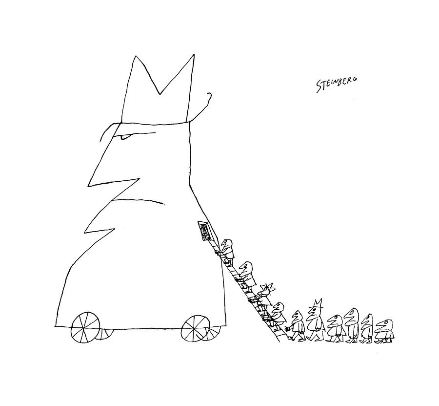 New Yorker January 23rd, 1960 Drawing by Saul Steinberg