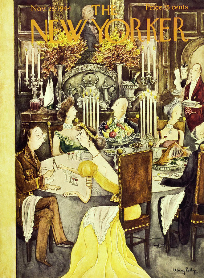 New Yorker Magazine Cover Of A Thanksgiving By Mary Petty