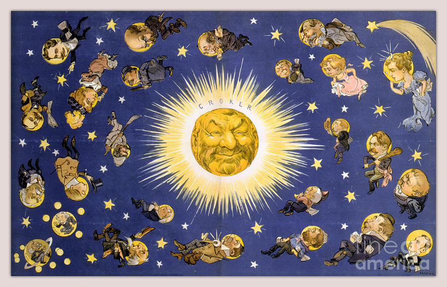 Caricature Drawing - New Yorks New Solar System Vintage Poster 1898 by Vintage Treasure