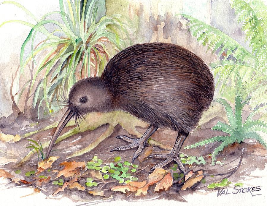 New Zealand. New Zealand Kiwi Painting - New Zealand Kiwi by Val Stokes
