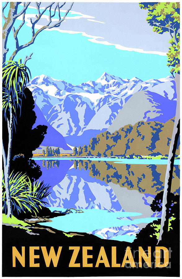 Mint Condition New Zealand Lake Matheson Vintage Travel Poster Drawing By Vintage Treasure