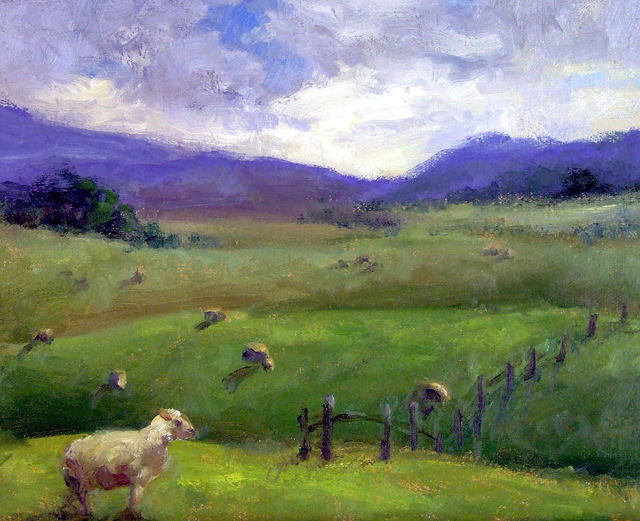 New zealand sheep farm print by michelle philip for Landscaping companies in new zealand