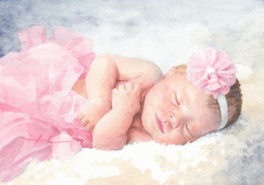 Newborn Girl Asleep In A Tutu Drawing by Mike Theuer