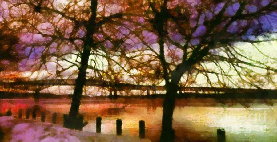 Newburgh - Beacon Bridge Photograph - Newburgh Beacon Bridge Purple Skies by Janine Riley