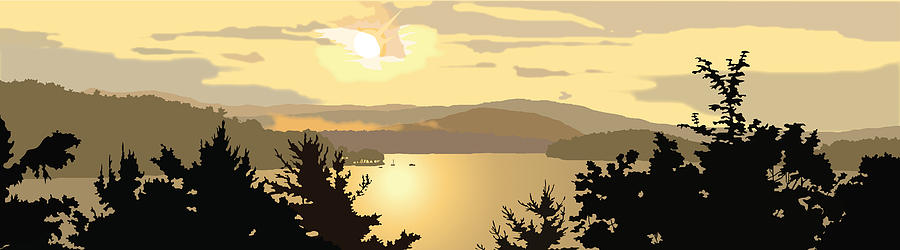 Water Painting - Newfound Lake by Marian Federspiel