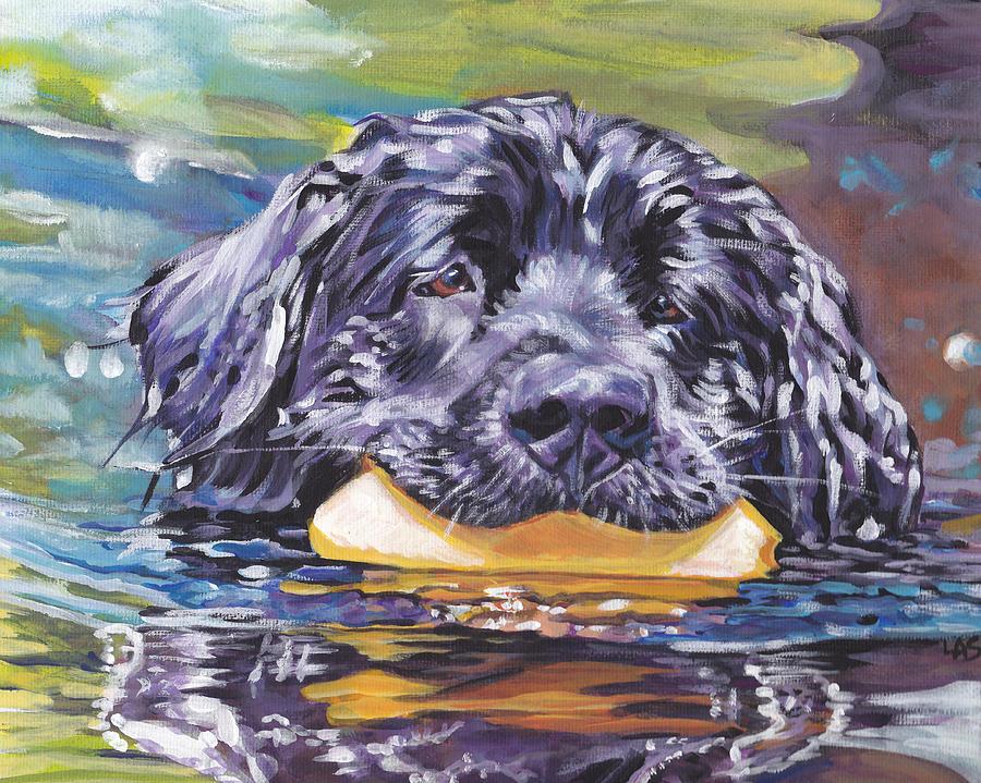 Newfoundland Painting - Newfoundland Swim by Lee Ann Shepard