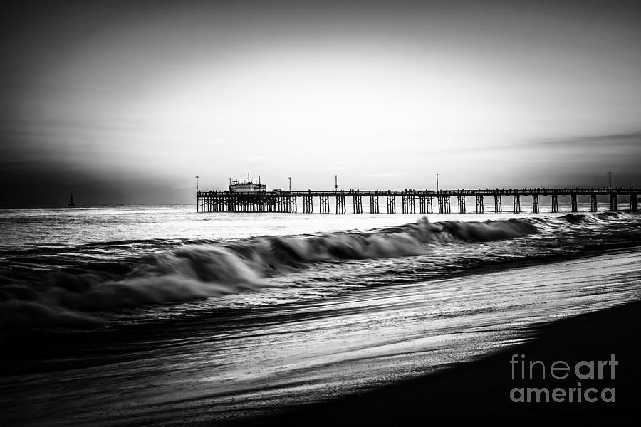Newport Balboa Pier Black And White Picture Photograph