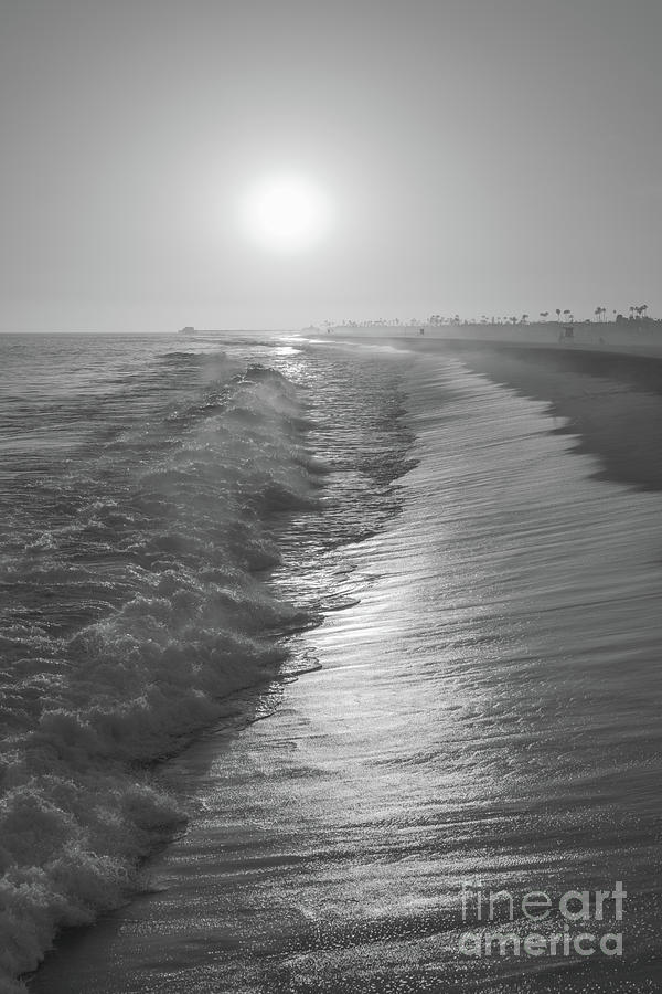 Newport Beach Ca Sunset Black And White Photo Photograph By Paul Velgos