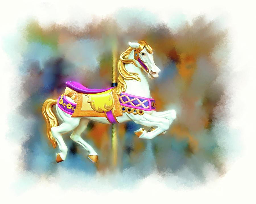 Carousel Digital Art - Newport Beach Carousel Horse by Casey Heisler