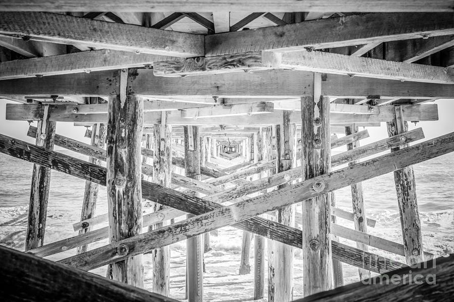 Newport Beach Pier Black And White Photo Photograph