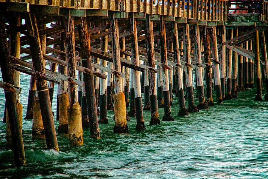 Sunset Photograph - Newport Beach Pier Close Up by Mariola Bitner