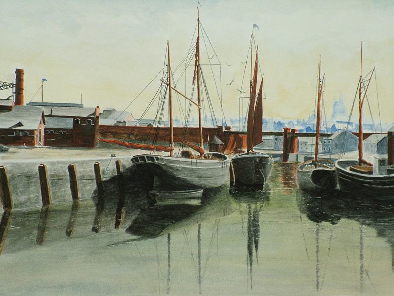 Seascape Painting - Newport Harbor 1911. by Patrice Large