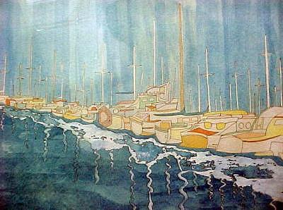 Newport Harbor Painting by Joseph Valencia
