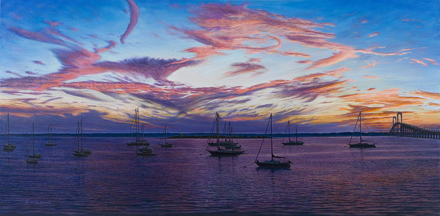 Boat Painting - Newport Lights by Bruce Dumas