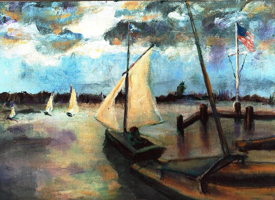 Newport Painting - Newport Moonlight Sail by Randy Sprout