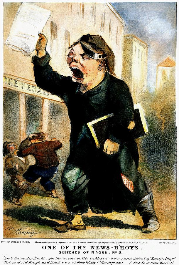 1847 Photograph - Newsboy Shouting, 1847 by Granger