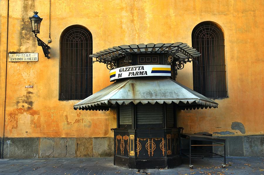 Architecture Photograph - Newsstand - Parma - Italy by Silvia Ganora