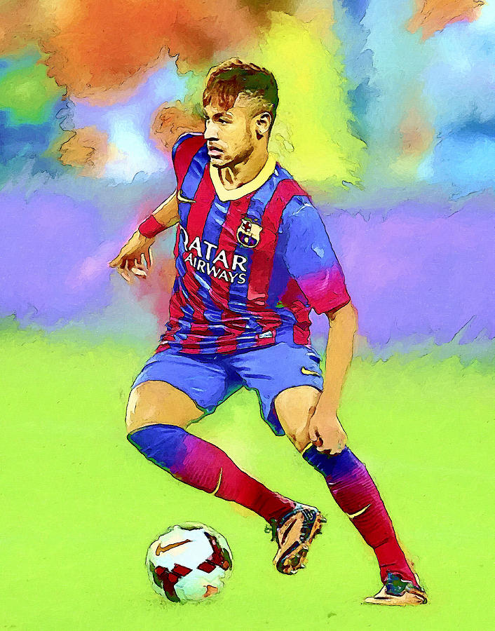 Neymar Football Soccer Landscape Art Painting Painting by