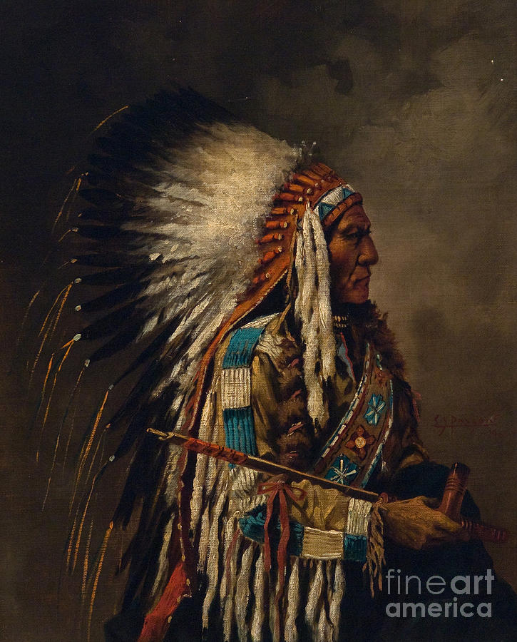 Traditional Painting - Nez Perce Chief by Edgar S Paxson