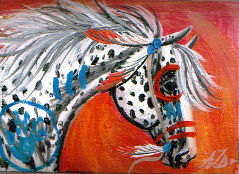 Horse Painting - Nez Pierce Stallion by Aislinn Brander