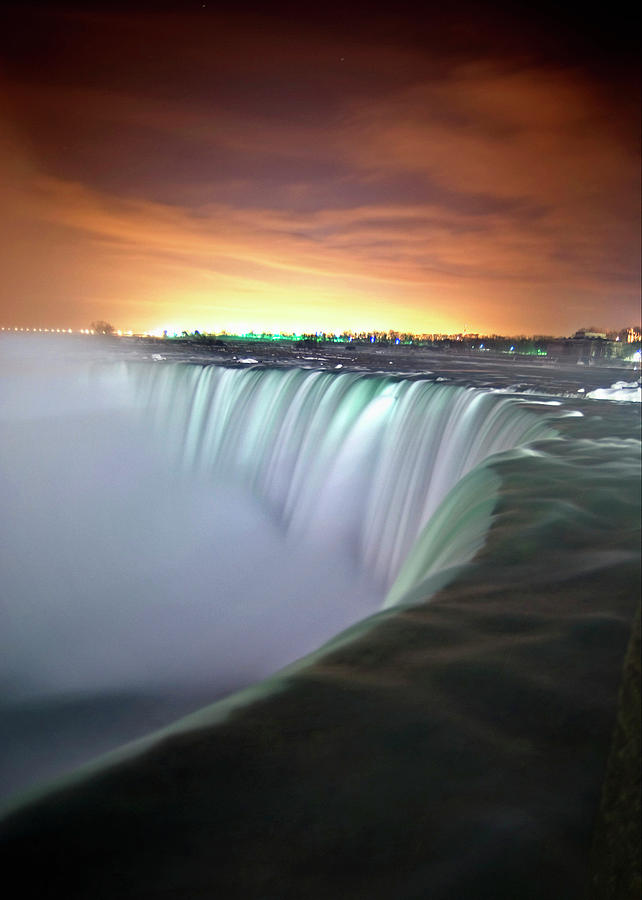 Vertical Photograph - Niagara Falls By Night by Insight Imaging
