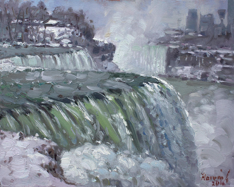 Niagara Falls Painting - Niagara Falls In Winter  by Ylli Haruni