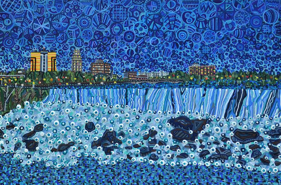 Niagara Falls Painting - Niagara Falls - Night by Micah Mullen