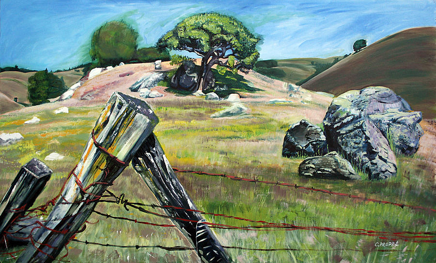 Fence Post Painting - Nicasio Fence Post by Colleen Proppe