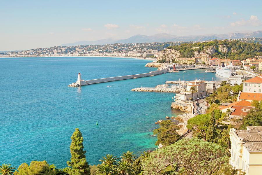 Horizontal Photograph - Nice Coastline And Harbour, France by John Harper