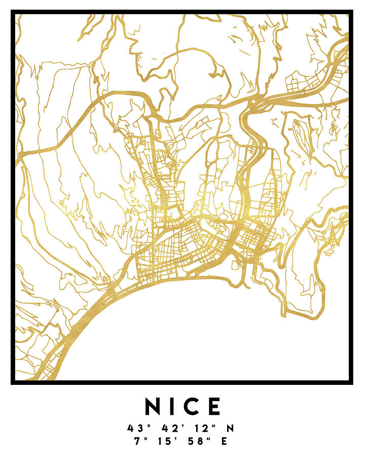 Nice France City Street Map Art Digital Art By Emiliano Deificus