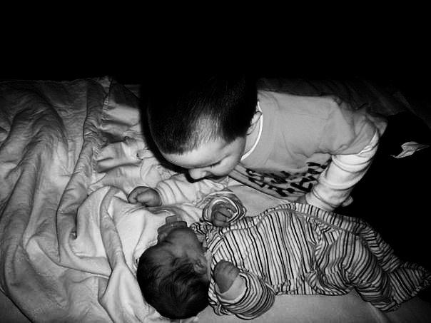 Black And White Photograph - Nice To Meet You Little Sister by Elise Subbotin