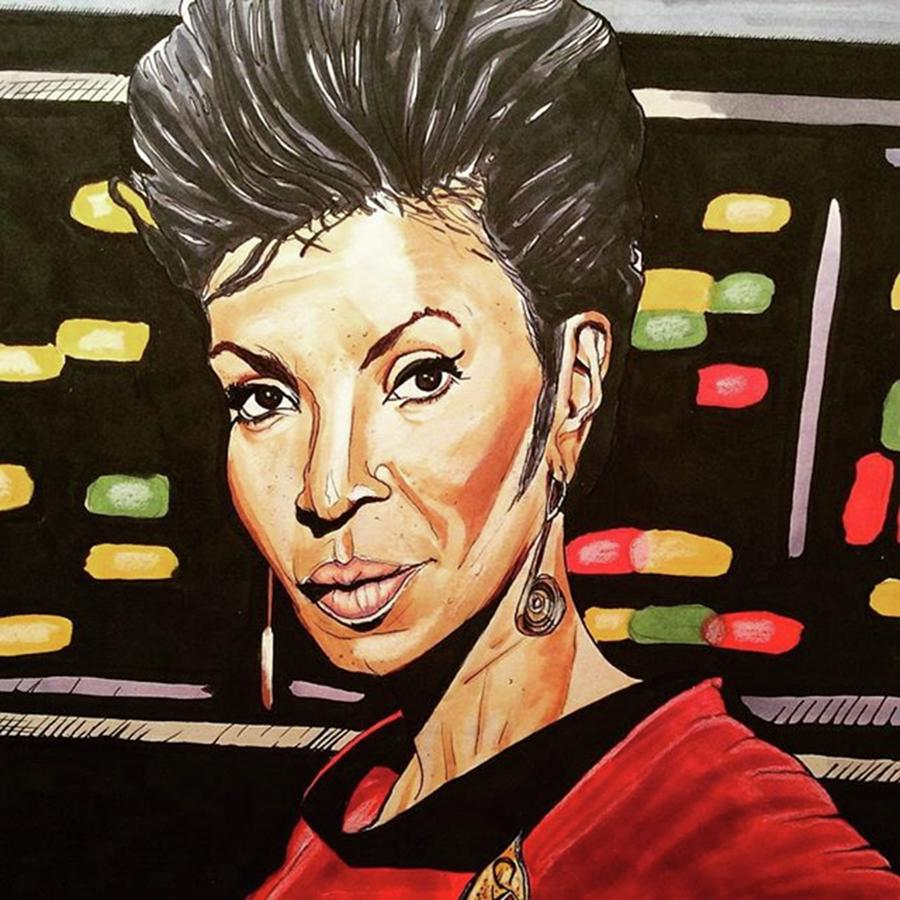 Portrait Drawing - Uhura  by Russell Boyle