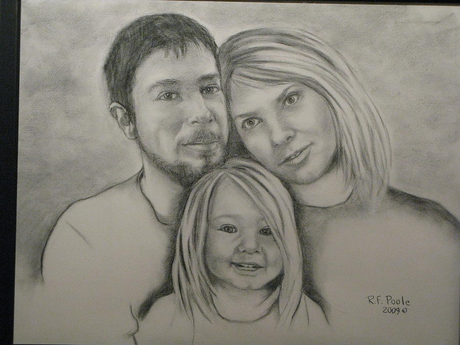 Portraiture Drawing - Nichols Family Portrait by Rebecca Poole