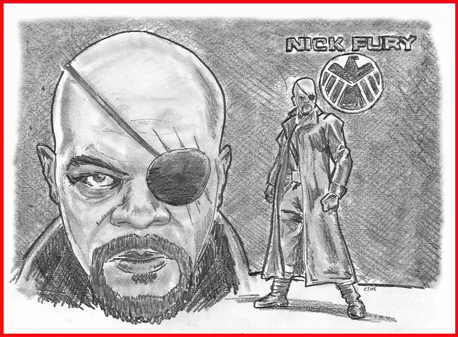 Avengers Drawing - Nick Fury- Agent Of Shield by Chris  DelVecchio