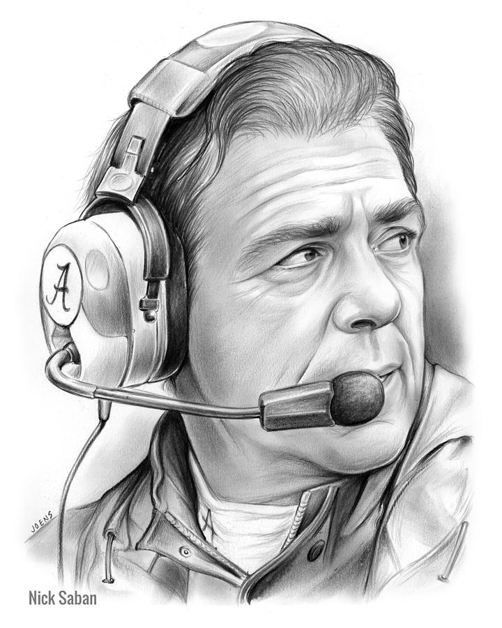 Nick Saban Drawing - Nick Saban by Greg Joens
