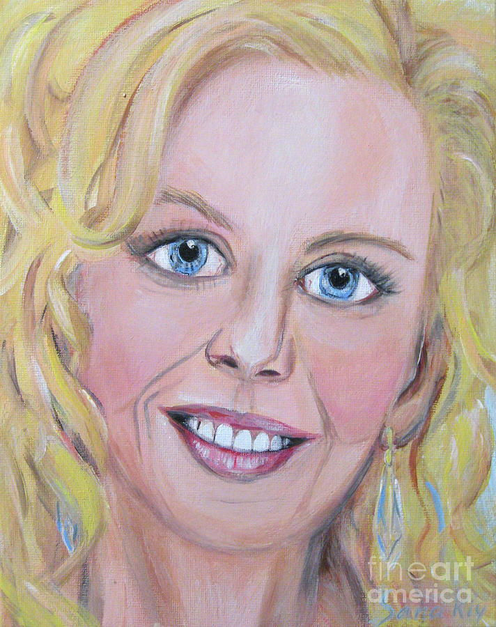 Portrait of Nicole Kidman. Acrylic painting. Portrait of  actress by Oksana Semenchenko