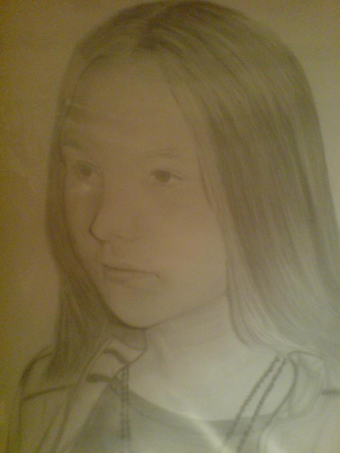 Pencil Portrait Drawing - Nicole by Maria Vero